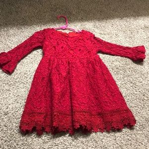 Red lace dress, long sleeve!